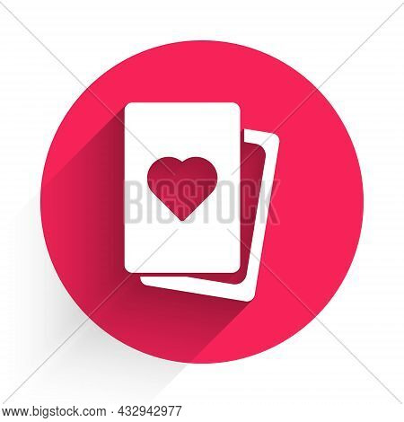 White Deck Of Playing Cards Icon Isolated With Long Shadow. Casino Gambling. Red Circle Button. Vect