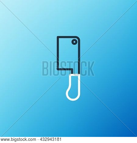Line Meat Chopper Icon Isolated On Blue Background. Butcher Knife. Kitchen Knife For Meat. Butcher K