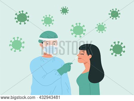 Healthcare Worker With Protective Equipment Performs Coronavirus Swab On Young Woman. Concept Of Cov
