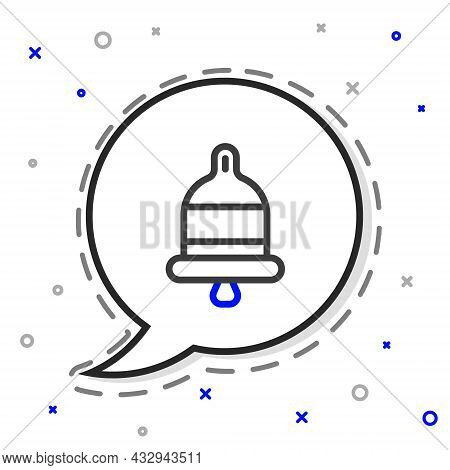 Line Ringing Alarm Bell Icon Isolated On White Background. Fire Alarm System. Service Bell, Handbell
