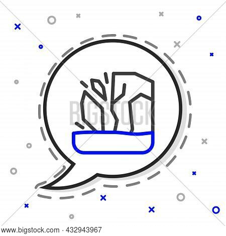Line Glacier Melting Icon Isolated On White Background. Colorful Outline Concept. Vector