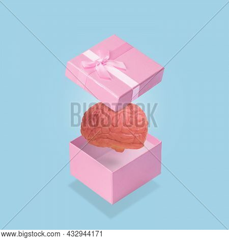 Open Pink Gift Box With A Human Brain. Funny And Creative Minimal Idea.