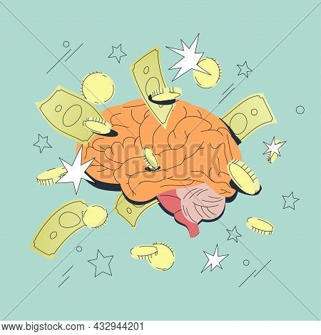 Financial Brain Surrounded By Money. Business Consulting, Finance Guidance, Investment Assistance, M