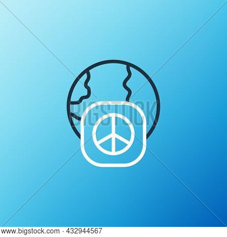 Line International Day Of Peace Icon Isolated On Blue Background. World Peace. Colorful Outline Conc