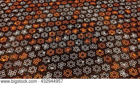 Abstract Background With Animation Of Technological Mosaic. Animation. Circles Creating A Silhouette