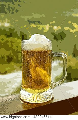 Illustration Of A Pint Of Draft Beer On The Balcony Railing With Blurry Forest View In Background
