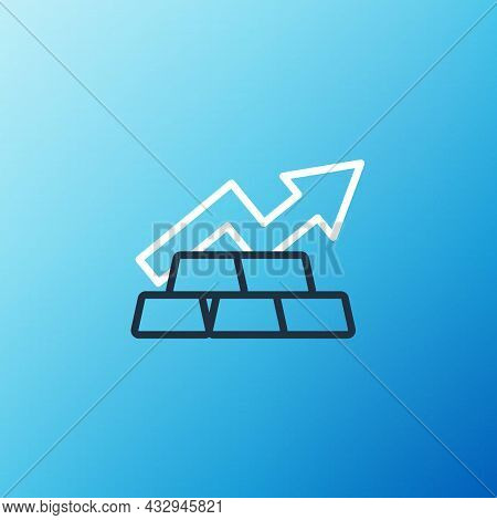 Line Finance Growth Chart Arrow With Gold Bars Icon Isolated On Blue Background. Financial Success C