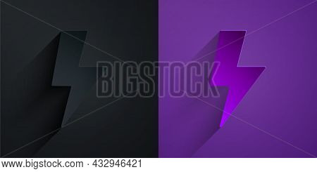 Paper Cut Lightning Bolt Icon Isolated On Black On Purple Background. Flash Sign. Charge Flash Icon.