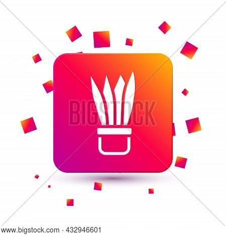 White Plant In Pot Icon Isolated On White Background. Plant Growing In A Pot. Potted Plant Sign. Squ