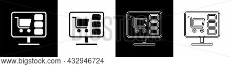 Set Shopping Cart On Screen Computer Icon Isolated On Black And White Background. Concept E-commerce