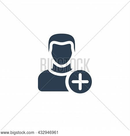 Add User, New Friend, Follower, Member And Plus Sign, Solid Flat Icon. Vector Illustration