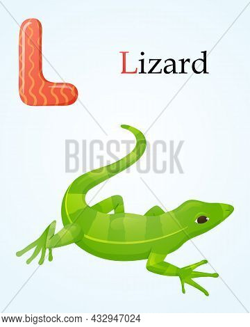 Kids Banner With English Alphabet Letter L And Cartoon Image Of Green Amphibian Striped Lizard.