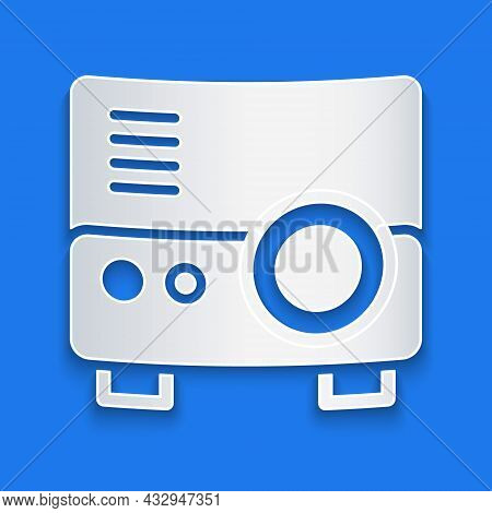 Paper Cut Presentation, Movie, Film, Media Projector Icon Isolated On Blue Background. Paper Art Sty