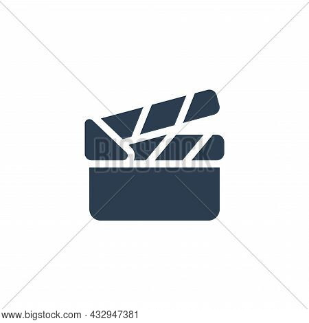 Movie Clapperboard Solid Flat Icon. Vector Illustration