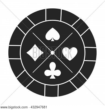 Casino Chip Vector Icon.black Vector Icon Isolated On White Background Casino Chip.