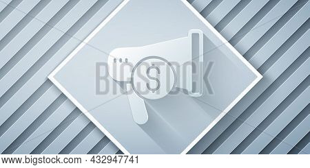 Paper Cut Megaphone And Dollar Icon Isolated On Grey Background. Loud Speech Alert Concept. Bullhorn