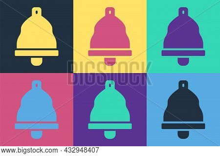 Pop Art Church Bell Icon Isolated On Color Background. Alarm Symbol, Service Bell, Handbell Sign, No