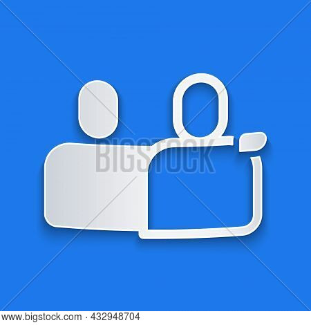 Paper Cut Bff Or Best Friends Forever Icon Isolated On Blue Background. Paper Art Style. Vector