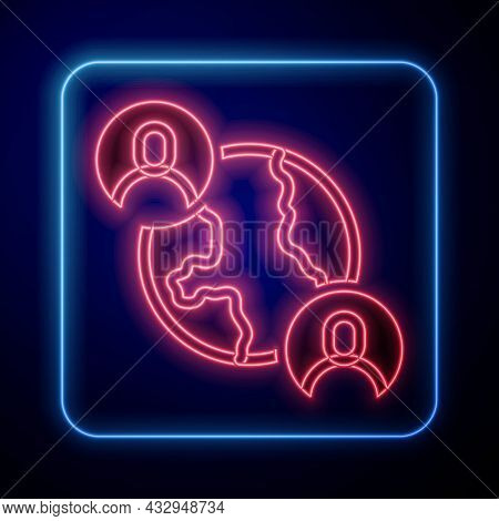 Glowing Neon Bff Or Best Friends Forever Icon Isolated On Black Background. Vector