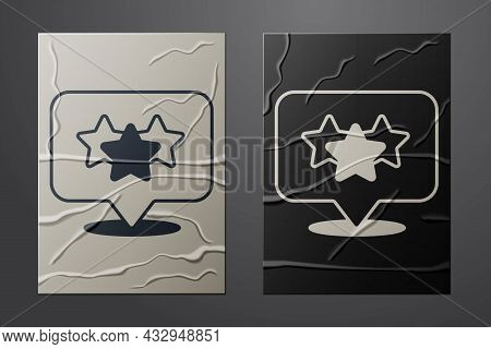 White Five Stars Customer Product Rating Review Icon Isolated On Crumpled Paper Background. Favorite
