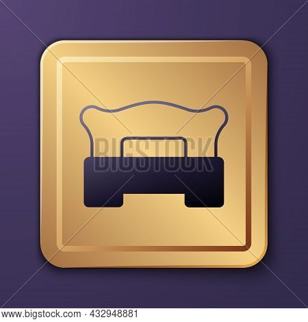 Purple Bedroom Icon Isolated On Purple Background. Wedding, Love, Marriage Symbol. Bedroom Creative