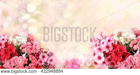 Holiday Concept With Flowers, Autumn Flower Composition With Blurred Bokeh Background, Still Life, B