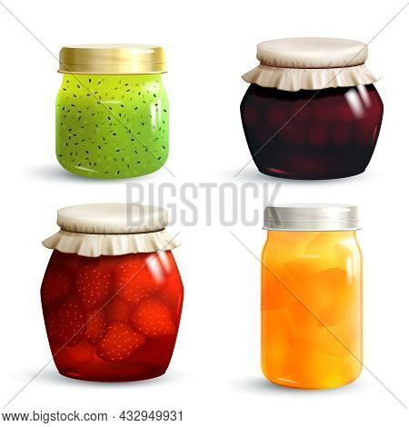 Natural Fruit Jam Preserves Jar Set With Realistic Kiwi Cherry Strawberry And Peach Marmalade Isolat
