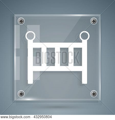 White Baby Crib Cradle Bed Icon Isolated On Grey Background. Square Glass Panels. Vector