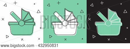 Set Baby Stroller Icon Isolated On White And Green, Black Background. Baby Carriage, Buggy, Pram, St