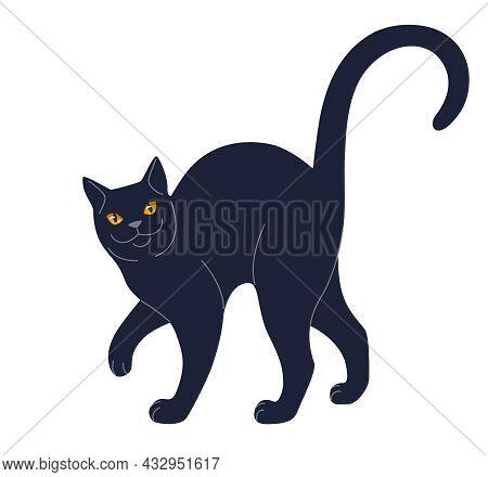 Simple Slinking Black Cat Isolated On White Background.  Domestic Animal With Orange Eyes, Soft Paws