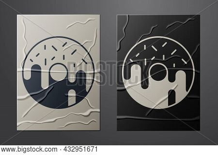 White Donut With Sweet Glaze Icon Isolated On Crumpled Paper Background. Paper Art Style. Vector