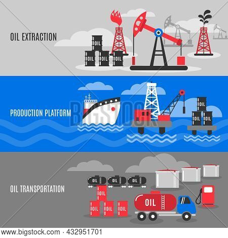 Petroleum Horizontal Banner Set With Oil Extraction Transportation And Production Platform Elements
