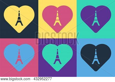 Pop Art Eiffel Tower With Heart Icon Isolated On Color Background. France Paris Landmark Symbol. Vec