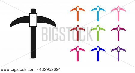Black Pickaxe Icon Isolated On White Background. Set Icons Colorful. Vector
