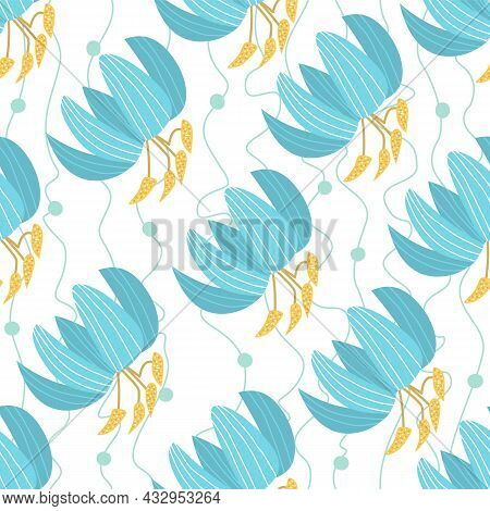 Seamless Vector Pattern With Blue Flowers On A White Background. Floral Pattern For Printing On Pack