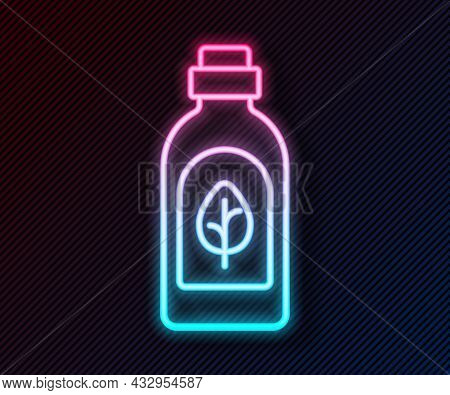 Glowing Neon Line Essential Oil Bottle Icon Isolated Glowing Neon Line Background. Organic Aromather