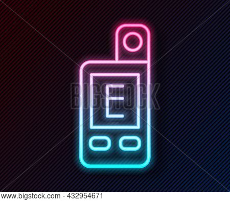 Glowing Neon Line Light Meter Icon Isolated On Black Background. Hand Luxmeter. Exposure Meter - A D