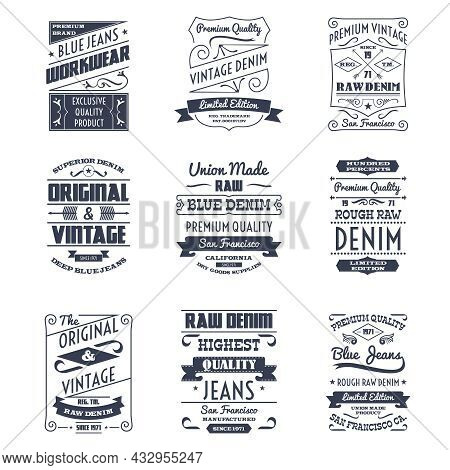 Classical Denim Jeans Typography Logo Emblems Limited Edition Graphic Design Icons Collection Black