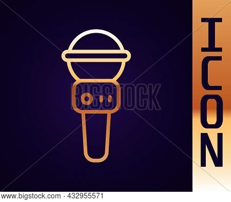 Gold Line Microphone Icon Isolated On Black Background. On Air Radio Mic Microphone. Speaker Sign. V