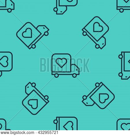 Black Line Delivery Truck With Heart Icon Isolated Seamless Pattern On Green Background. Love Delive