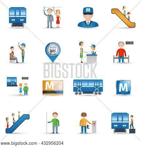 Subway Metro Underground Public Transport Icons Set Isolated Vector Illustration
