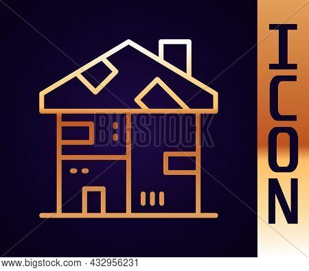 Gold Line Homeless Cardboard House Icon Isolated On Black Background. Vector