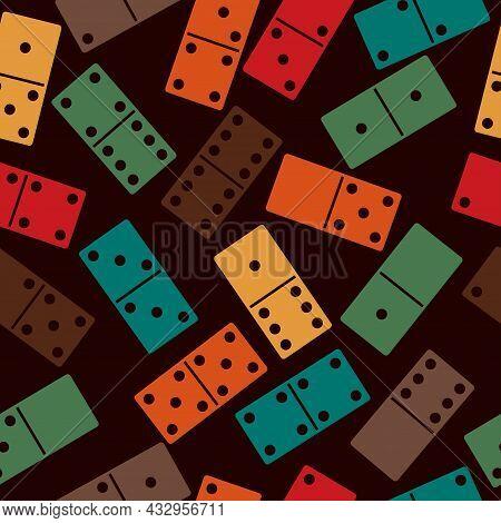 Domino Stones Seamless Pattern. Dominoes Game Bones Background. Vector