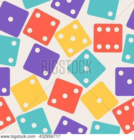 Dices Gamble Gaming Seamless Pattern. Color Poker Cubes Background. Vector