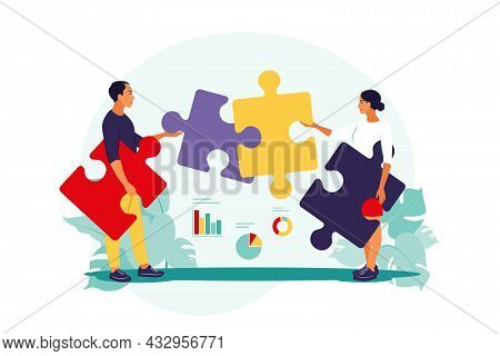 Problem Solving. Creative Decision, Difficult Task Concept. Man And Woman Assembling Puzzle. Coopera