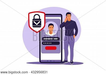 Sign Up Concept. Young Man Signing Up Or Login To Online Account On Smartphone App. Secure Login And