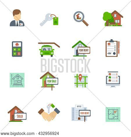 Real Estate Searching Choosing And Valuation Flat Icon Set Isolated Vector Illustration