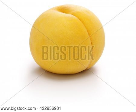 fresh yellow peach isolated on white background