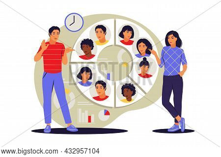 Audience Segmentation Concept. People Near A Large Circular Chart With Images Of People. Vector Illu