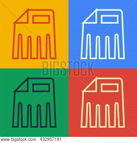 Pop Art Line Paper Shredder Confidential And Private Document Office Information Protection Icon Iso